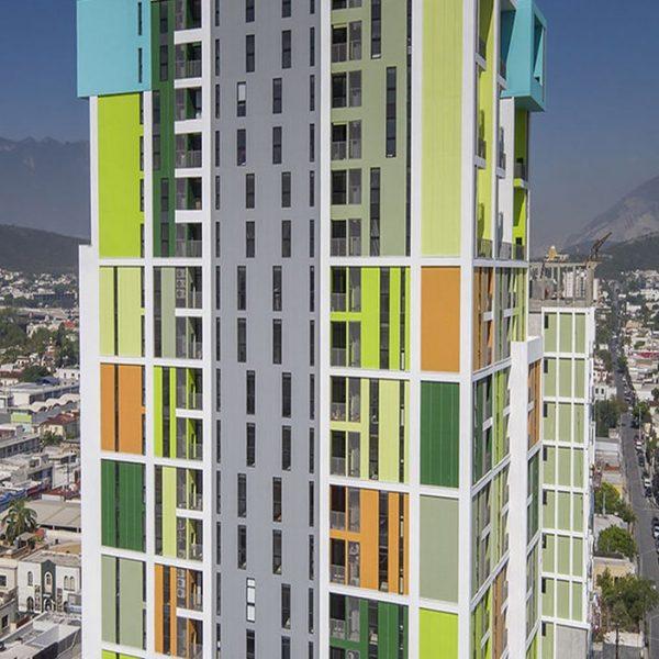 edificios con casetones de fibra de vidrio monterrey